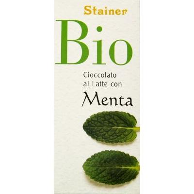 Stainer Tavoletta Cioccolato Biologico al Latte con menta - 50gr.